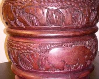 Vintage Hand Carved Brush Pot
