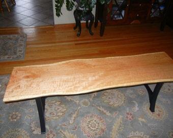 Live edge Cherry slab wood bench/Table