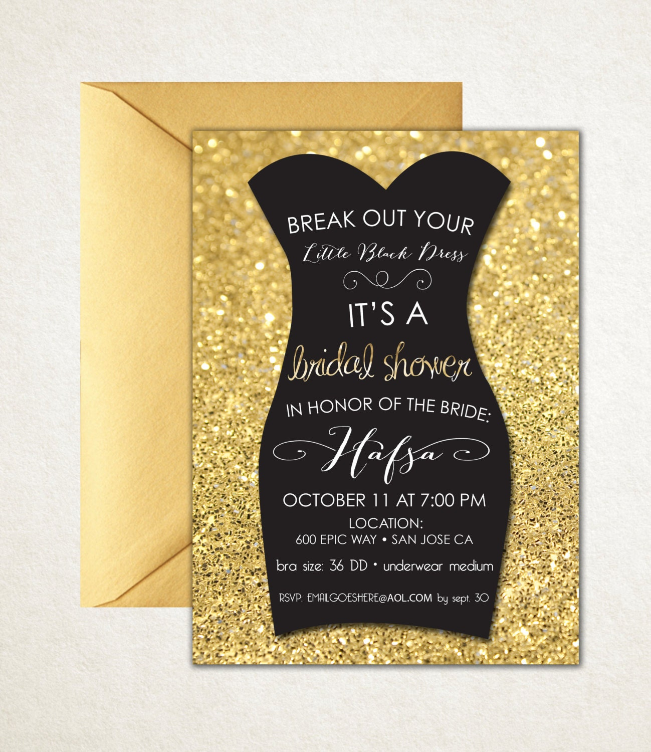 Little black dress bridal shower invitation for Wedding dress bridal shower invitations