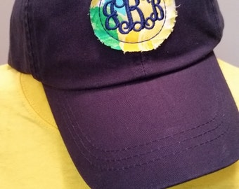 monogramed hats, circle monogram hat, personalized hats, embroidered hats, custom hats, gifts for her, Lilly Pulitzed inspired, birthdays