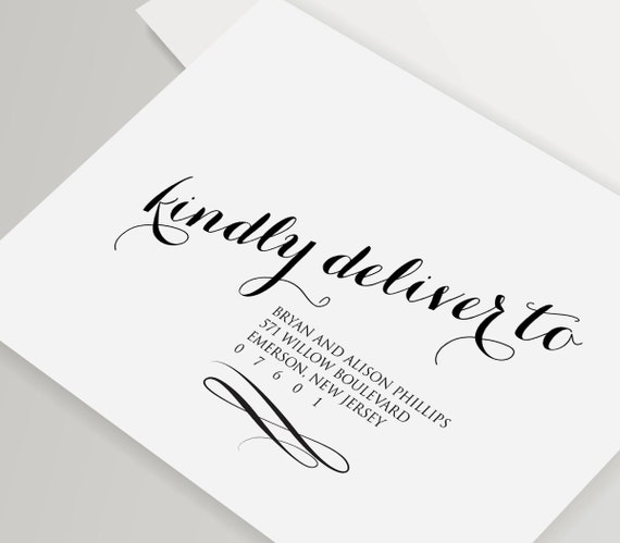Calligraphy envelope template wedding address by