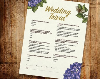 Printable Floral Wedding Trivia Printable Download Game