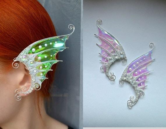02bd6f44242d43 wings earrings, jewelry wings, ear cuff set, butterfly wings earrings,  dragon wings