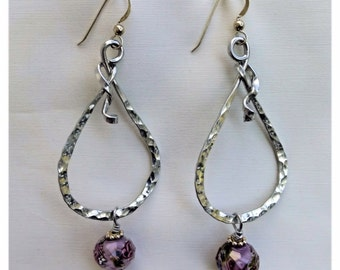 Hammered Aluminum Dangle Earrings with Glass Beads - #11520