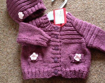 Baby Girl's cardigan and hat with flower detail on pockets. REDUCED!