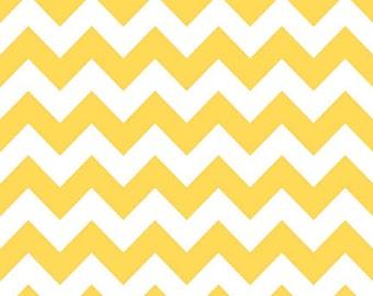 Riley Blake, Medium Chevron, Yellow and White, fabric by the yard