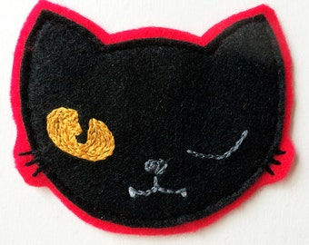 Lucky Black Winking Cat Sew-On Felt Patch