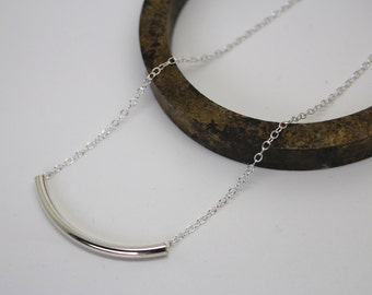 Silver curved tube necklace/silver curved bar necklace/sterling silver tube bar necklace/layering necklace/minimalist necklace/gift for her/