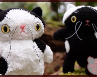 Black and White Cat plush Pair - OOAK- cats plushies -  cat set- stuffed cats - black and white cats - stuffed toys -plush dolls -cat dolls