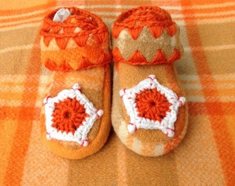 Blanket Baby Booties, Handmade Wool Slippers, Soft Leather Soled Moccasins