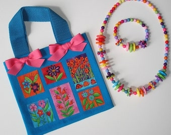 Girls Turquoise Canvas Tote Bag Garden Flowers Appliques Pink Grosgrain Bows Beaded Acrylic Necklace Bracelet Set