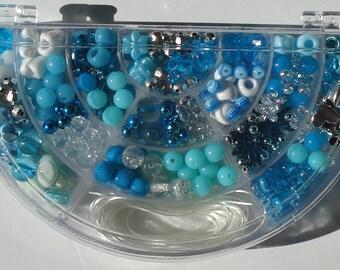 Bead Kit Turquoise Blues Acrylic Beads Hinged Half Moon Shaped Plastic Box Stretch Cord