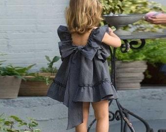 Back Bowknot Plaid Girls Mini Dress  Sizes 3-6yrs