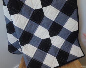 Modern Plaid Black, Grey and White Baby Quilt