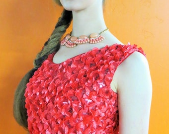DRESS- Coral Ruffles