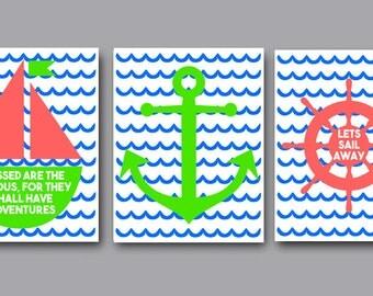 Sailboat, Anchor, Ship Wheel Printables, 3 Nautical Prints, Nursery Decor, Ocean Wall Art, Lets Sail Away, Sailing Printable, Adventures