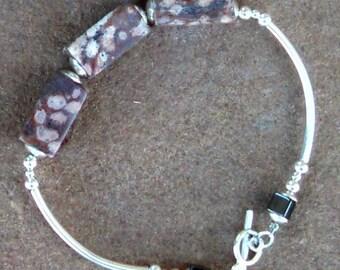 Stunning Jasper and Sterling Silver Bracelet