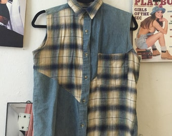 Vintage Denim and Flannel Tank