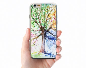 iphone 6s case soft clear tpu back cover for iphone 4 5 se 6 7 plus ipod touch four season tree