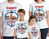 Paw Patrol Birthday Shirt Personalized Paw Patrol Add Name & AGE GIFT FAVORS Custom Paw Patrol TShirt 05