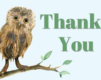 Owl Thank You Card | Watercolor | Organic | Nature | Wildlife | Natural | Thank You Card | Coordinating Set | DIY Printable