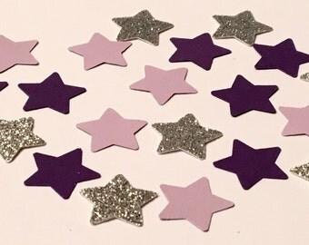 225 Purple Star Confetti Silver Star Confetti Purple Confetti Glitter Confetti Girl Confetti Shower Confetti Birthday Confetti
