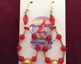 Red chandelier earrings.
