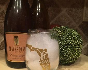 Florida Stemless Wine Glass