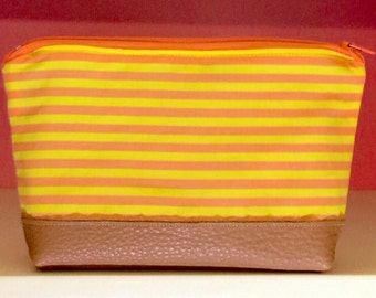 1960s Fabric Cosmetic Bag w/ Waterproof Interior. Orange & yellow striped make up / toiletry bag / zipper pouch. Genuine  leather. Handmade.