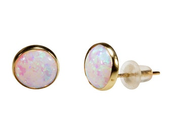 Opal Earrings, Real Gold Earrings, White Stud Earrings, Stud Earrings, 14k Gold Earrings, White Opal Studs, Gold Studs, Gold Jewelry