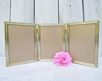 Tri-fold Gold Metal Frame set, 3 5 x 7 Picture Frames hinged together, Wedding centerpiece, Bride/Groom Parents & Couple, Family home decor