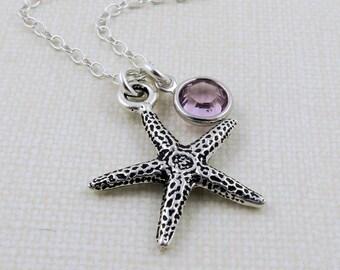 Silver Starfish Necklace, Starfish Charm Necklace, Beach Necklace, Ocean Necklace, Starfish Jewelry, Tiny Starfish, Birthstone Jewelry