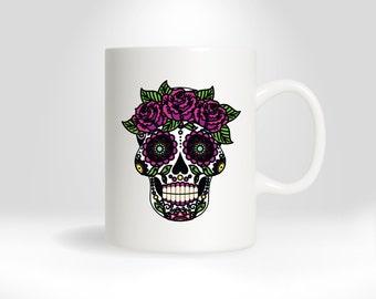 Sugar Skull Coffee Mug, Day of the Dead Mug, Skull Mug