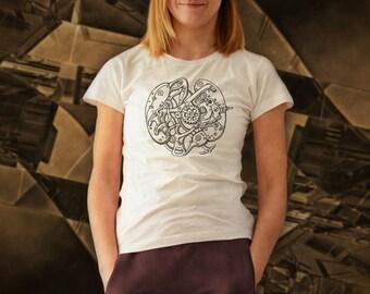 steam punk machine watch white t shirt for women, screen printed women's short sleeve tee shirt, summer t shirt, Size S, M, L, XL