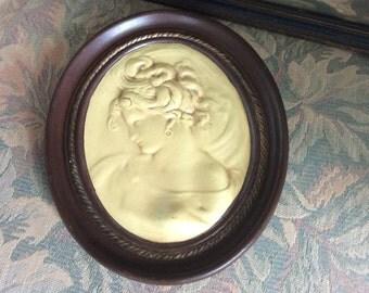 SALE!!  Vintage Plaster Plaque,Backer, Beautiful Woman, Excellent!