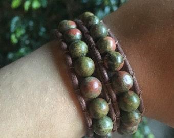 Unakite Vegan Leather Wrap Bracelet