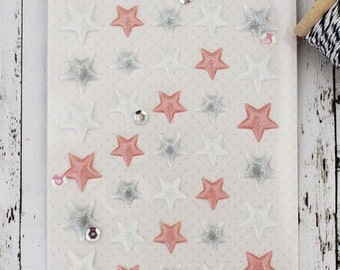 SALE Pink/Silver/White Star Stickers