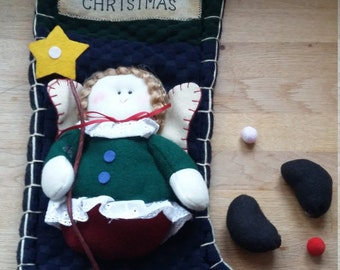 Christmas Angel Stocking with appliqued detail