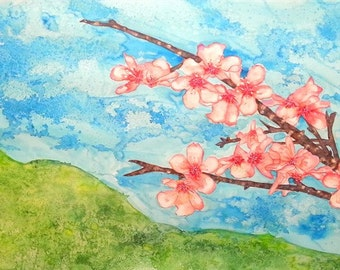 Almond tree painting,Almond blossoms watercolor paintinge, big Original watercolor painting Almond Flowers,Large tree painting,