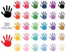 Painted Hand Prints Clipart, Handprints Clipart, Kids Hand Prints, Painted Hand Prints, Art and Craft Clipart, Colorful Hand Prints