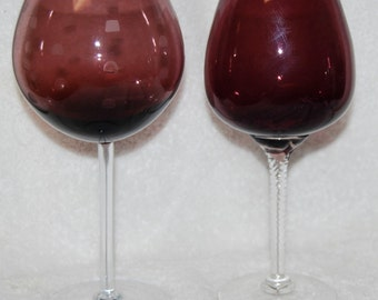 Amethyst glass Long Stemmed Wine or Brandy--set of 2
