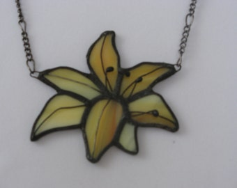 Stained Glass Jewelry Necklace Pendant Glass Pendant Protective Yellow Lily Handmade Glass Blue Glass