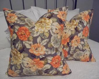 Pillow covers.Cocoa.Cream.Grey.Green.Russet,Fall Pillow Cover.Garden print.Osnaburg backSlip Cover.