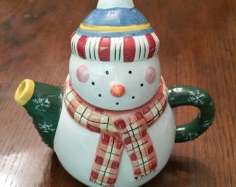 Vintage Snowman Teapot / Sakura / China / Teapot / Christmas / Snowman / Christmas Teapot / Winter Wonderland / Christmas in July / CIJ