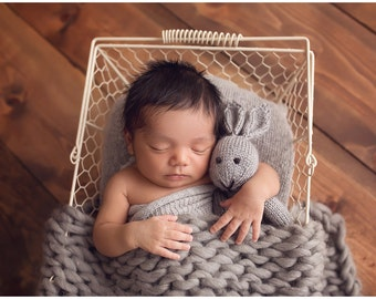 Knitted mini bunny - Photo Prop - Newborn Photo Prop - Soft Toy - Stuffed Animal