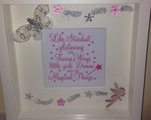 "Fairy Quote Wall Art Picture Frame Girls Room ""like stardust glistening on fairy wings little girls dreams are magical things"""
