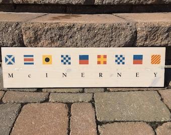 Custom Nautical Flag Name Wood Wall Hanging