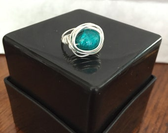 Teal Ring Wire Wrapped - Size 5.5