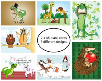 Cartoon birthday card, Multipack, animal cards, 7 card cartoon birthday card pack, blank A5 all occasion, humorous cards