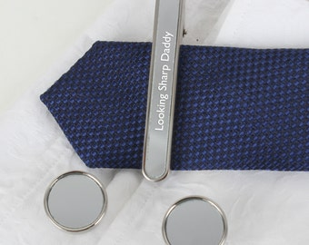 Personalised Mirrored Tie Clip And Cufflinks Gift Set
